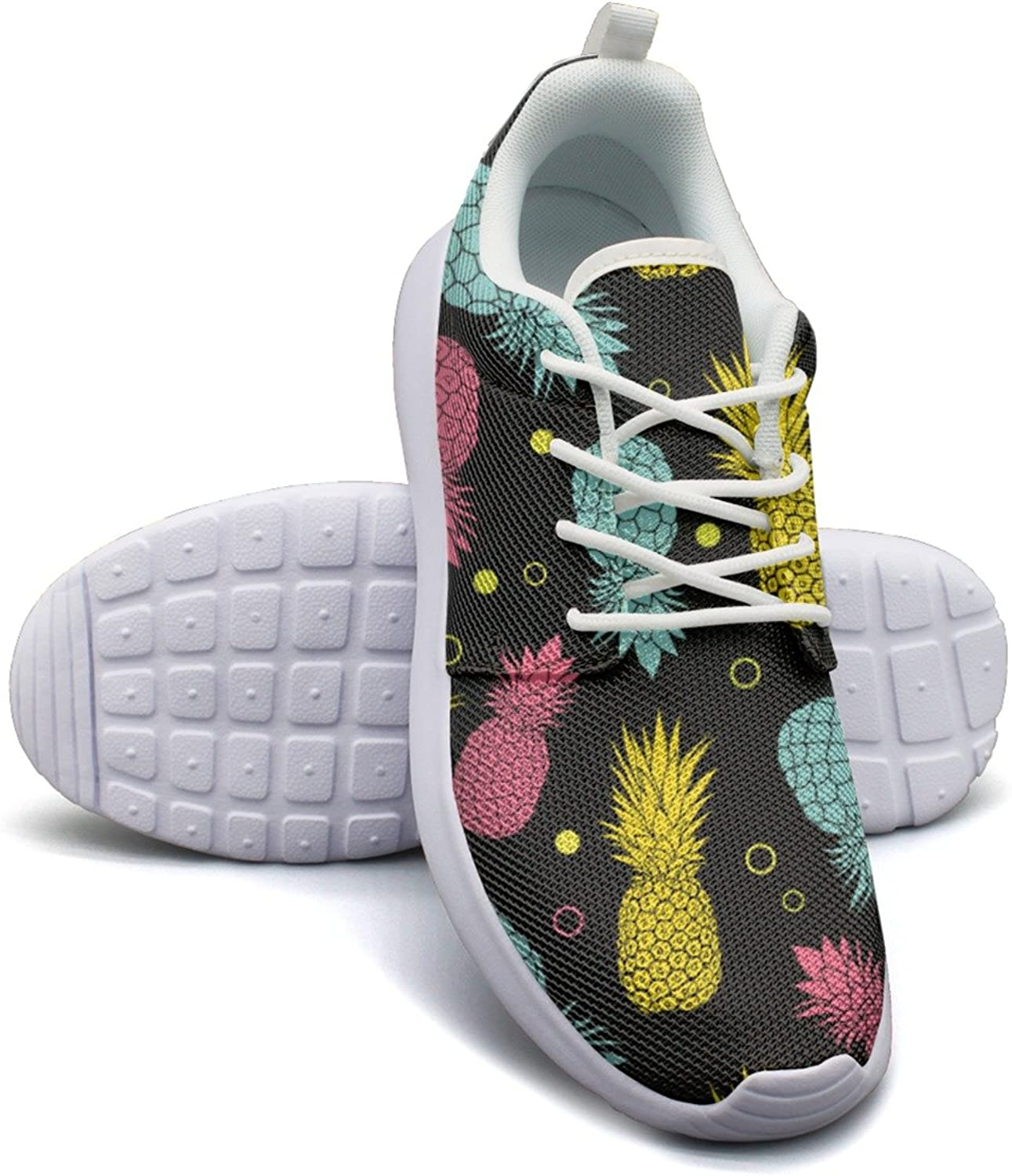 Black Summer colorful Tropical Fruit Pineapple Women's Lightweight Mesh Sneakers shoes Retro Athletic shoes