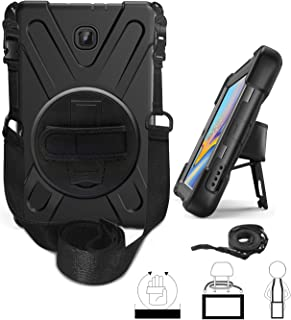 Galaxy Tab A 8.0 T387 (2018/2019, LTE) Case by KIQ Shockproof Heavy Duty Military Rugged Armor Case Cover Kickstand Shoulderstrap for Samsung Galaxy Tab A 8.0