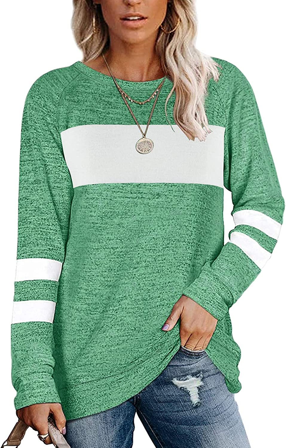 Womens Casual Tops Crewneck Stripe Color Block Tshirts Loose Fit Pullover