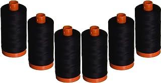 Aurifil A1050-2692 Mako Cotton Thread Solid 50WT 1422Yds Black (6 Pack)