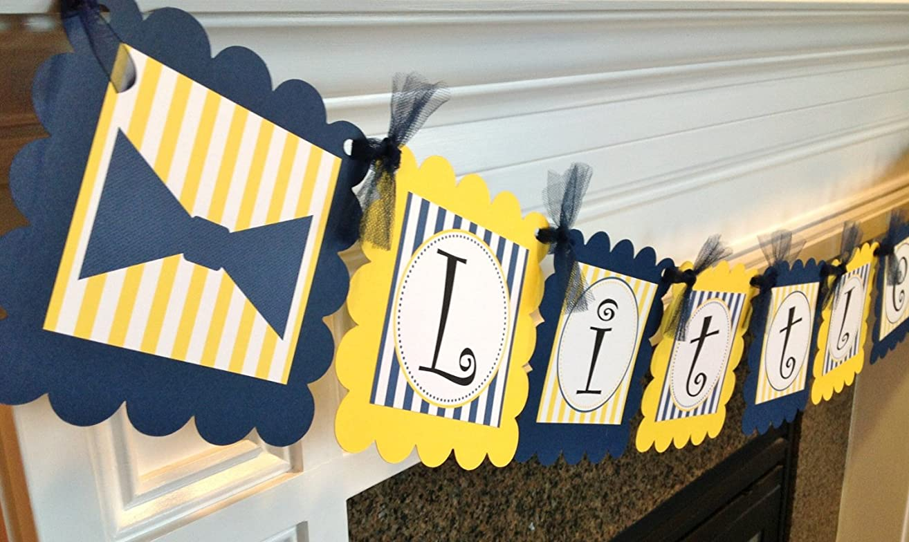 Little Man Bow Tie Banner - Navy Blue and Yellow Stripes & Black and White Accents - Party Packs Available
