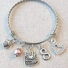 8th BIRTHDAY Bracelet, 8th Birthday Charm Bracelet, 8 Year Old Daughter Birthday Gift Idea, Eighth Birthday Gift, 8 Year Old Birthday Bangle