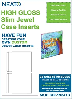 Neato High Gloss CD DVD Slim Jewel Case Inserts - 25 Sheets 50 Total Inserts - CIP-192413 - Online Design Access Code Included