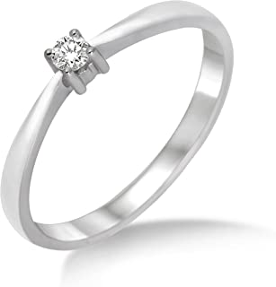 Miore Women's Solitaire Engagement Ring 9 Carat 375 Gold Diamond 0.05 Carat White Gold