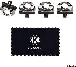 CAMKIX Instalacion rápida al trípode del Soporte de la Camara con el Tornillo para conectarlo al Cuello o a Las Correas de Las muñecas – Paquete de 4- Conexión rápida y Segura – Metal Durable