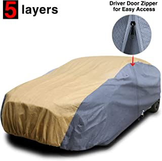 KAKIT Car Cover Waterproof All Weather for Sedan, 5 Layers Soft Cotton Sun UV Protection Windproof Universal Outdoor Car Covers for Automobiles Fits up to 199