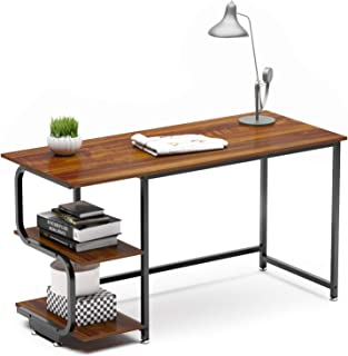 Teraves Reversible Computer Desk for Small Spaces with Shelves,55 inch Gaming Desk Office Desk for Home Office