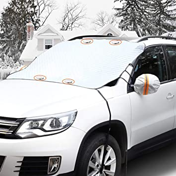 GAMURRY Car Windshield Snow Ice Cover, Windshield Covers with 4 Layers of Protection and Magnetic Edges, Anti-Snow/Anti-Ice/Anti-Fog Thickened Snow Cover for Car, Suitable for Most Cars: image