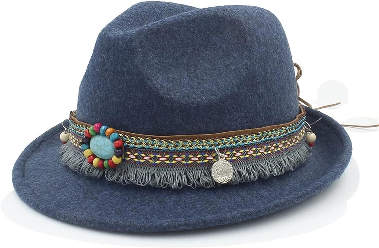 chenghuax Sun hat Fashion Wool Women Men Outback Fedora Hat with Tassel Bohemia Ribbon for Elegant Lady Jazz Church Godfather Sombrero Caps Beach hat (Color : Khaki, Size : 57-58cm)