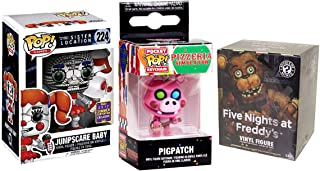 Pizza Series SDCC Five Nights at Freddy's Character Pack Vinyl Pop! Bundled with + Sister Location Jumpscare Baby Exclusive & Pigpatch Guitar Pocket Pop Keychain + Blind Box Minis Collectible 3 Item