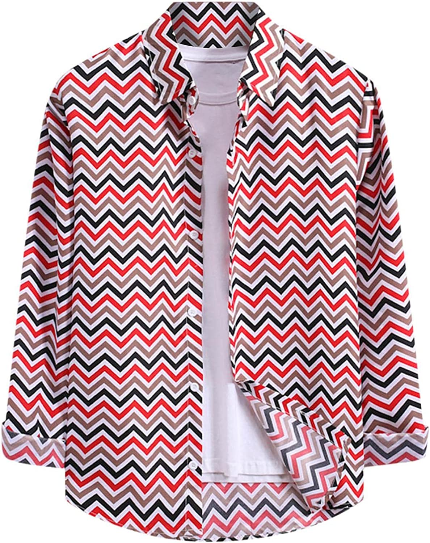 FUNEY Men's Fashion Long Sleeve Striped Button Down Shirts Casual Turn-Down Collar Western Plaid Snap Work Poplin Shirt