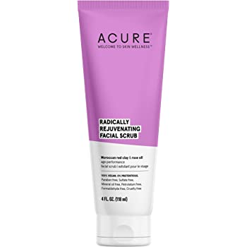 ACURE Radically Rejuvenating Facial Scrub | 100% Vegan | Provides Anti-Aging Support | Moroccan Red Clay & Rose Oil - Gently exfoliates and Softens | 4 Fl Oz (Packaging May Vary)