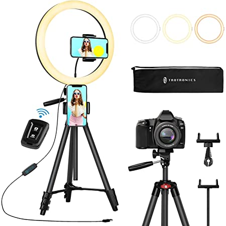 """TaoTronics 12"""" Selfie Ring Light with 16""""-62"""" Adjustable Tripod Stand,2 Phone Holders,Bluetooth Remote Shutter Compatible with iOS/Android for Zoom/Makeup/YouTube,160 bulbs,3X10 color Choice with Bag"""