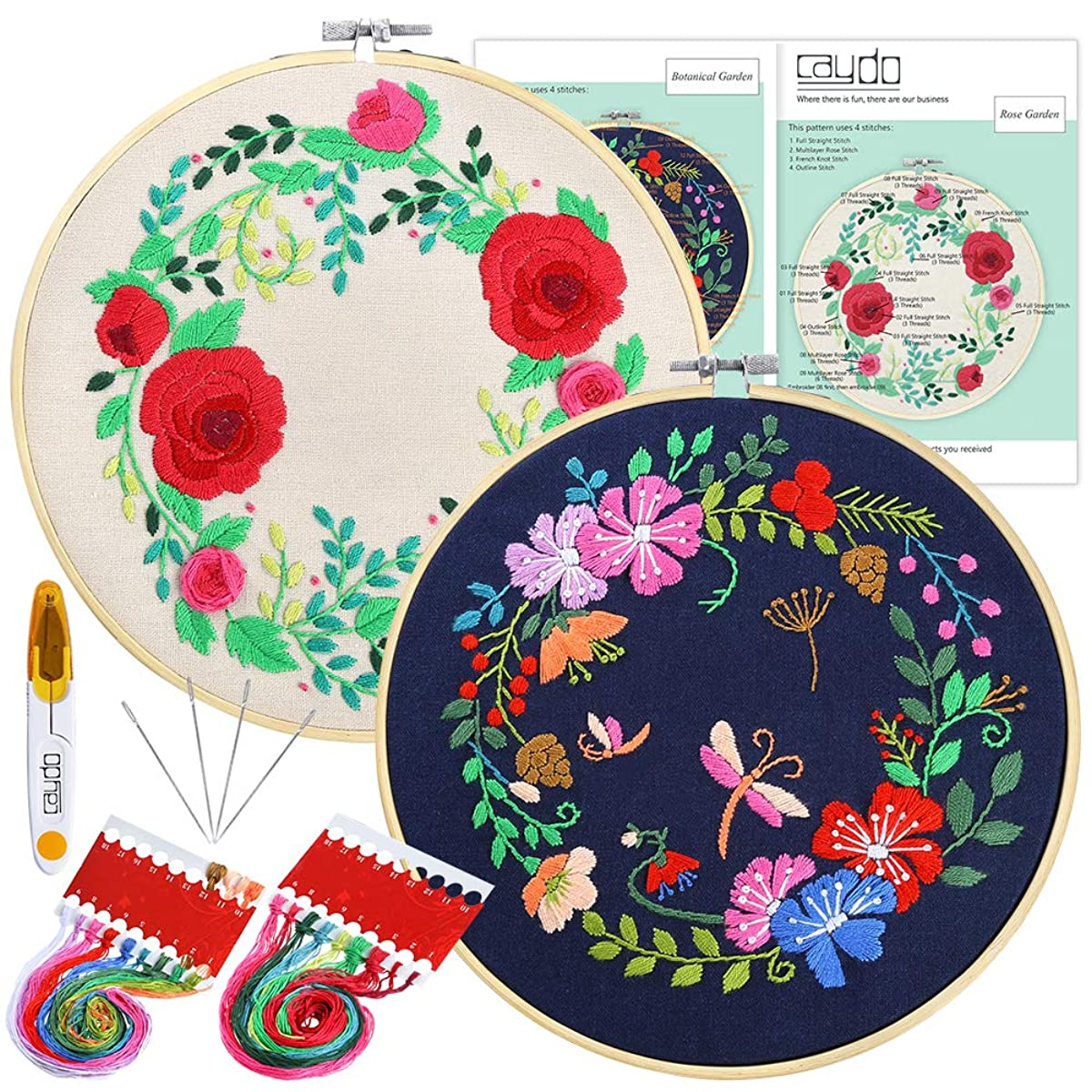 Caydo 2 Sets Full Range of Embroidery Starter Kit with Pattern and Instructions, Cross Stitch Kit Including 2 Embroidery Clothes with Floral Pattern, 2 Bamboo Embroidery Hoops, Color Threads and Tools