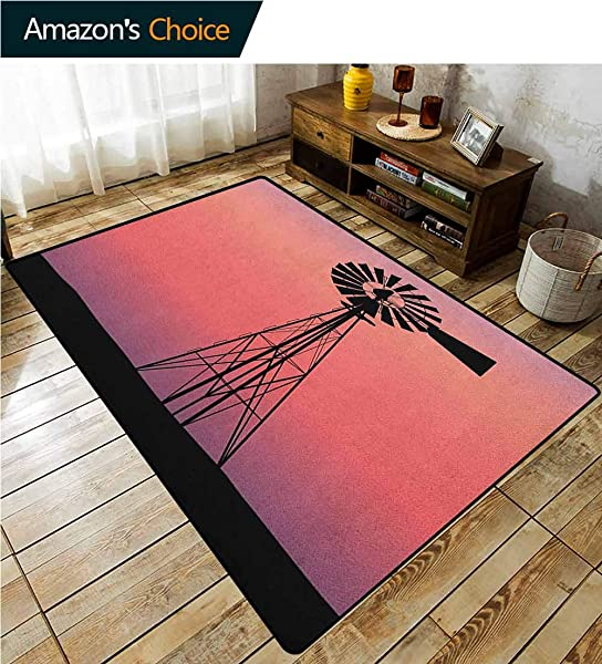 Windmill Sports Door Mats Inside Non Slip Windmill Silhouette At Dreamlike Sunset Western Ranch Agriculture Theme Fashionable High Class Living Dinning Room 2 5 X 9 Coral Lilac And Black