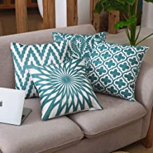 Gigiana 4 Pack Embroidered Decorative Throw Pillow Covers Cushion Cases for Couch Sofa Bed Living Room Floral Geometric 18x18 inch (Light Teal Geometric)