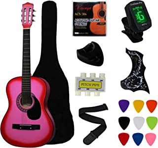 """Best YMC 38"""" Pink Beginner Acoustic Guitar Starter Package Student Guitar with Gig Bag,Strap, 3 thickness 9 picks,2 Pickguards,Pick Holder, Extra Strings, Electronic Tuner -Pink Review"""