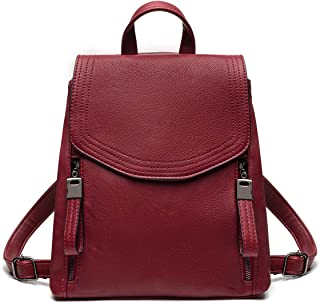 JOSEKO Women Backpack, Leather Flap Backpack Purse Casual Daypack for Ladies College Girls with Adjustable Straps