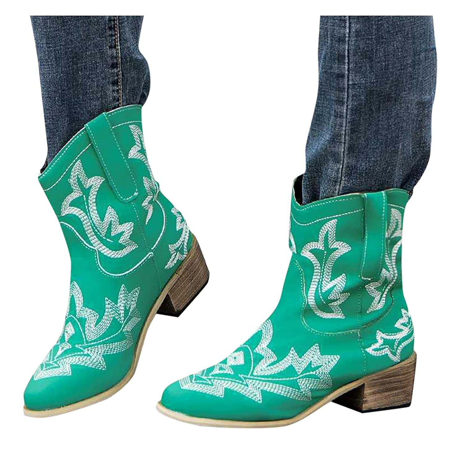 Reokoou Women's Dealing full price reduction Western Bootie Retro Discount mail order Embroidery Slip On Leather
