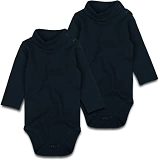 Baby Turtleneck Bodysuit Long-Sleeve Boy Girl Solid Black Cotton Onsies 0-24 Months, 2 Pack