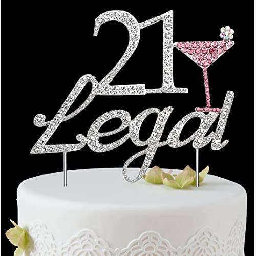 BABEYOND 21 Legal Rhinestone Crystal Happy Birthday Decoration Cake Topper Pick For Party Supplies