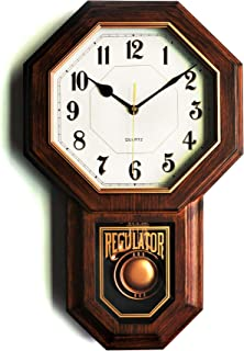 "Classic Antique Pendulum Wall Clock, Wood Simulated Vintage Bronze Texture, Non Ticking Silent Sweep Quartz Movement, Width 11.4"", Length 18.5"", Retro Rustic Country Style, Plastic Frame, ASB Glass"