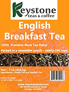 English Breakfast Loose Leaf Tea, 1lb Pouch Premium Black tea blend of Assam and Keemun, Drink Hot or Iced, Sweetened or Plain –Nearly 200 servings.