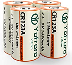 CR123A Lithium 3V Batteries, Yofraro 4 Pack 1650mAh Non-Rechargeable 3 Volt Lithium CR123a Battery for arlo VMS3230 (Not The Arlo VMS3230C) Cameras, flashlights, Alarm System