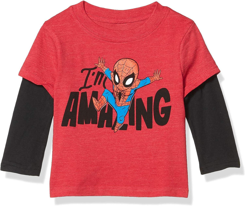 Marvel Spiderman Shirt for Boys Web Slinging Long Sleeve Tee