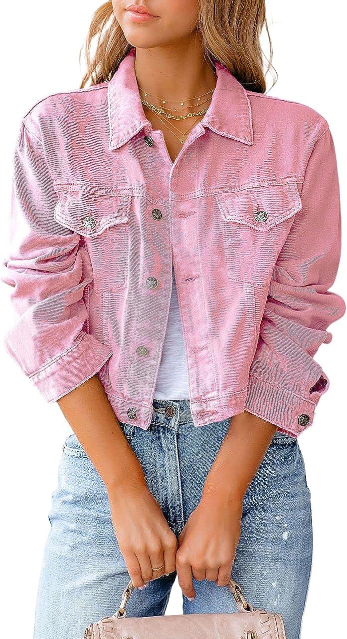 Women Cropped Denim Jean Jacket Long Sleeves Button Up Denim Coat With Flap Pockets Retro Vintage Trucker Jacket