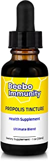 BEEBO IMMUNITY - All Natural 95% Bee Propolis Extract Concentrate (14,100mg Propolis/1 oz Bottle) - Immune System Support ...