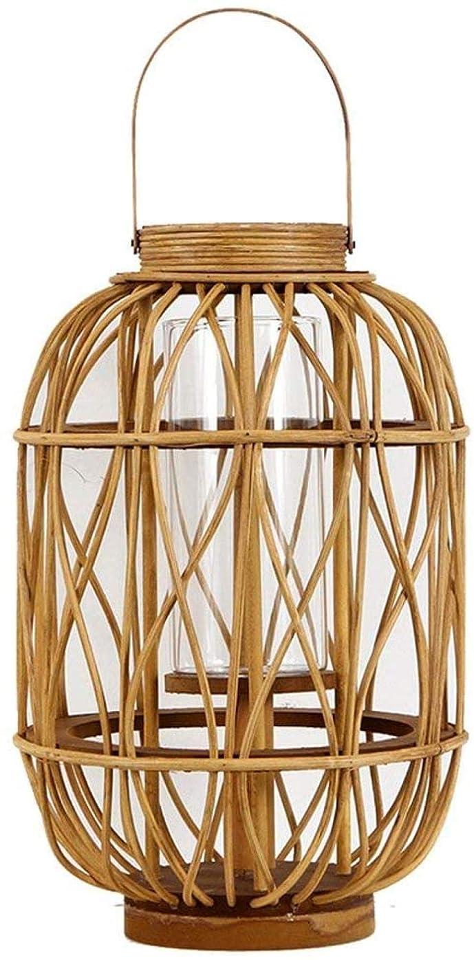 植生ベット艶ヴィンテージ竹織り防風ランタンキャンドルホルダーガラスキャンドルハンギングキャンドルホルダーファミリーレストランキャンドルランタンの装飾ロフト植物廊下のポータブルオブジェクト(サイズ:La iteration