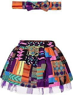 African Print Toddler Baby Girl Tutu Skirt Dashiki Ankara Skort Headband Outfit Set