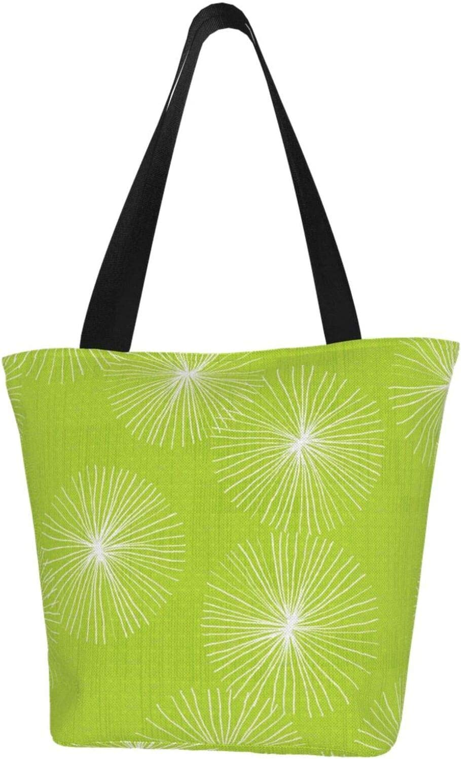 AKLID Green Dandelion Extra Large Ba Resistant Tote Water Canvas Bombing free shipping shopping