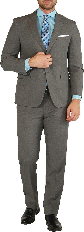 38R Paul Lorenzo Mens Heather Grey Slim Fit 2 Piece Suit for Men