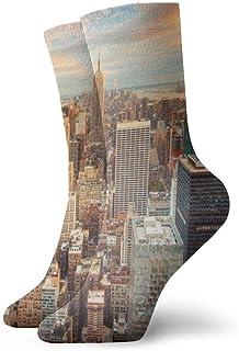 Kevin-Shop, Vista aérea de los Calcetines de compresión Antideslizantes Skyline de la Ciudad de Nueva York Calcetines Deportivos acogedores de 11.8 Pulgadas para Hombres, Mujeres y niños