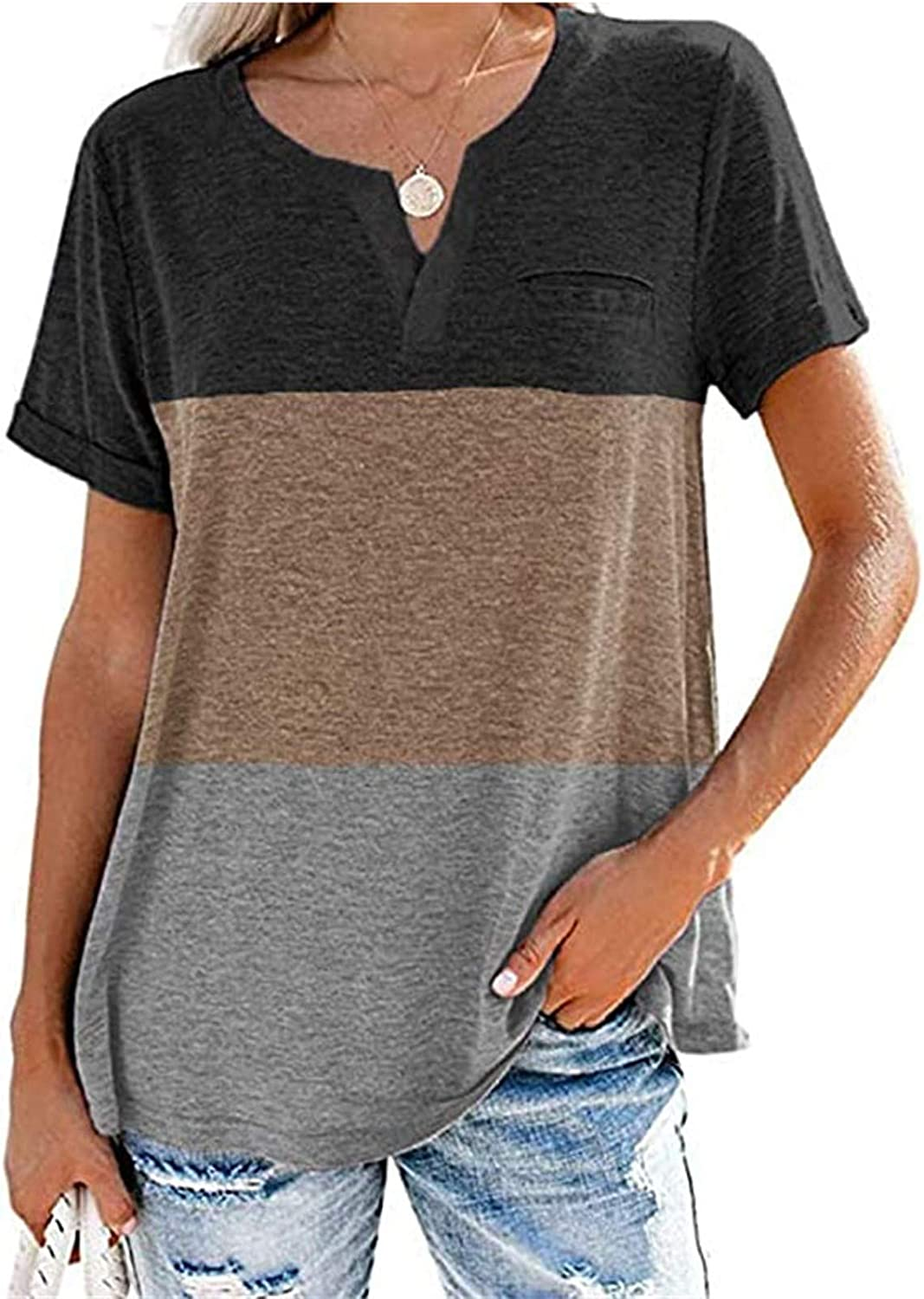 Women's Summer Casual Short Sleeve for V-Neck Shirts Cute Color Block Tunic Tees Tops Basic Blouses