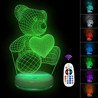 Kids Night Lights Bedside Lamp 7 Colors Change Remote Control 3D Night Light Kids Optical Illusion Lamps Kids Lamp As a Gift-Cute Bear