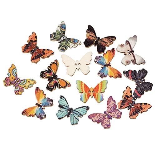 Butterfly Fine Style Wooden Buttons All Sizes Choice Of Colours