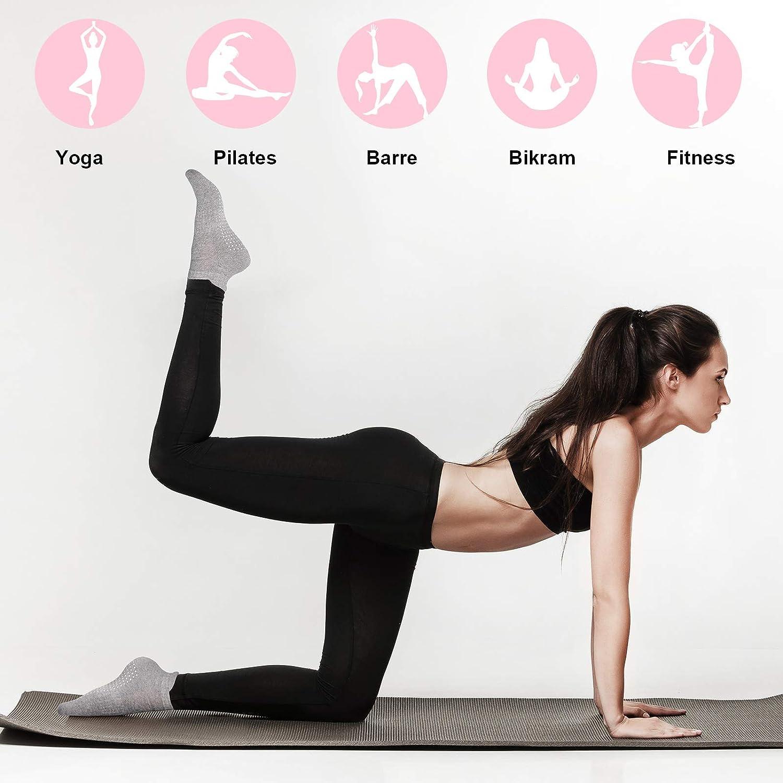 6 Paia di Calzini Grip da Yoga Donna Calzini Yoga Antiscivolo Calzini Antiscivolo da Allenamento a Piedi Nudi con Presa per Donna Pilates Barre Balletto Danza