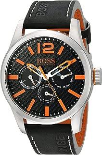 Hugo Boss Orange Black Dial Leather Strap Men's Watch 1513228