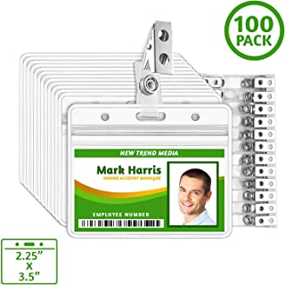 EcoEarth Horizontal PVC ID Badge Holder with Metal Clips and Vinyl Straps (Sealable Fits 2.25