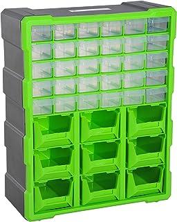 DURHAND Sortierkasten Kleinteilemagazin Teile Box Aufbewahrungsbox 39 Fächer Grün L38 x B16 x H47,5 cm
