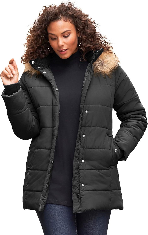Roaman's Women's Plus Size Classic-Length Puffer Jacket With Hood Winter Coat