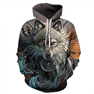 Tribal King Wolf 3D Print Sweatshirt Men Hip Hop Pullover Casual Hoodies