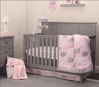 NoJo Elephant 4 Piece Nursery Crib Bedding Set, Pink/Grey/White