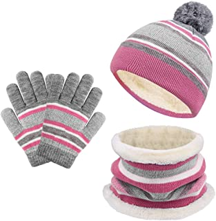 Kids Winter Knitted Set Knitted Hat Scarf Gloves for Kids...