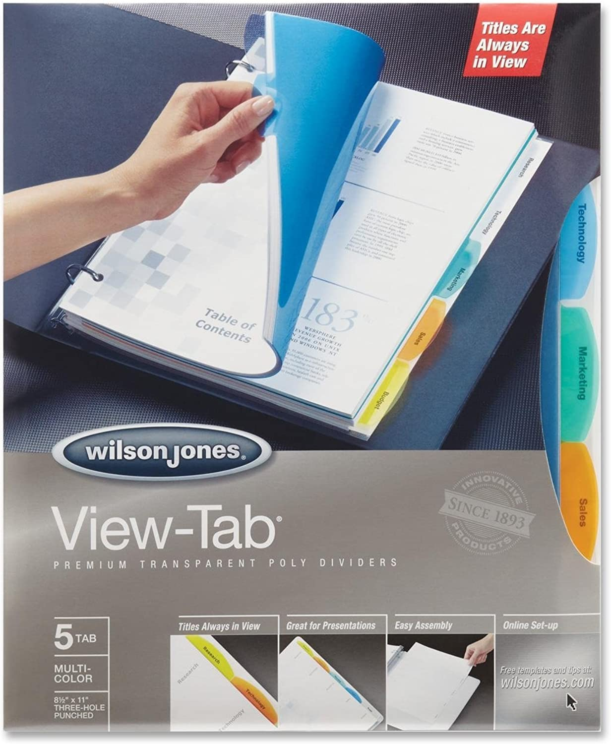 View-Tab Transparent Index Dividers, 5-Tab, Square, Letter, Assorted, 5 Set B00006ICF0  | Roman