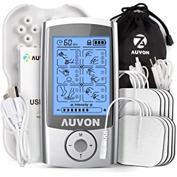 """AUVON Rechargeable TENS Unit Muscle Stimulator, 3rd Gen 16 Modes TENS Machine with 8pcs 2""""x2"""" Premium Electrode Pads (American Gel ) for Pain Relief"""