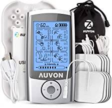 """AUVON Rechargeable TENS Unit Muscle Stimulator, 3rd Gen 16 Modes TENS Machine with 8pcs 2""""x2"""" Premium Electrode Pads (American Gel) for Pain Relief"""
